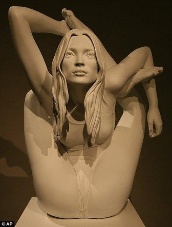 Kate Moss yoga statue