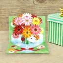 Tarjeta desplegable imprimible y armable de flores. Manualidades a raudales.