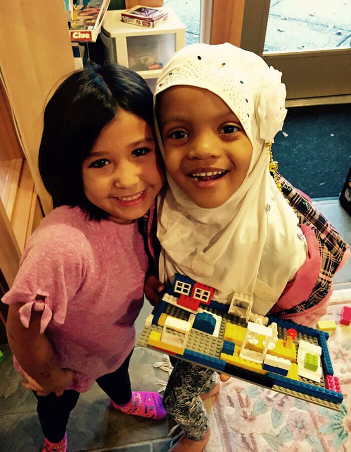 Girls Play with Legos