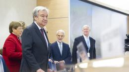 Secretary-General António Guterres (second from left) attending the opening of the forty-third regular session of the Human Rights Council, where he launched his Call for Action for Human Rights. UN