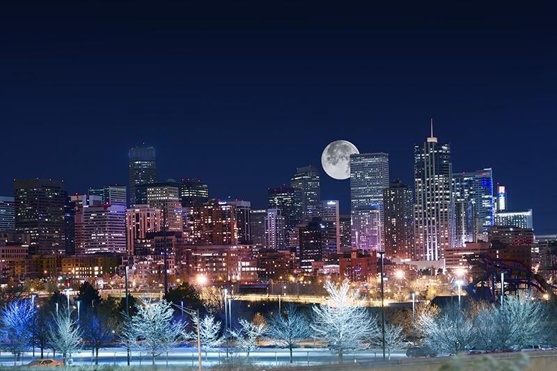 Full moon over Denver, Colorado