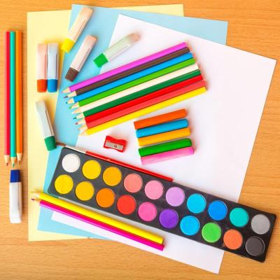 Colorful art supplies for school