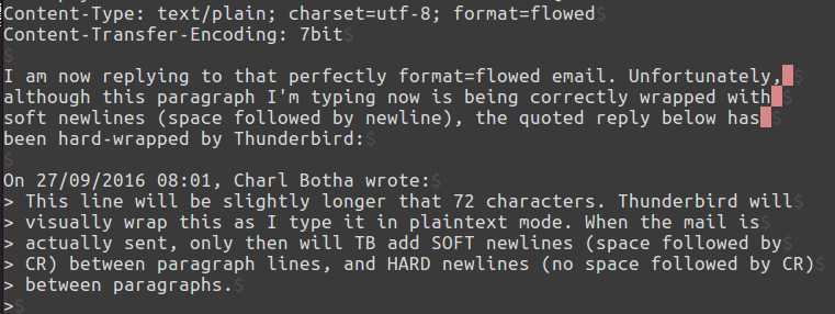 TB 45.3.0 hard wraps a quoted reply in format=flowed mode. Naughty Thunderbird!