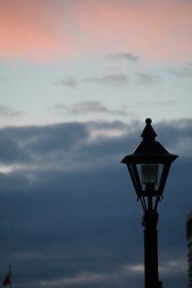 Lamp post at sunset, Saint John, NB