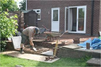 Construction of steps and base for patio