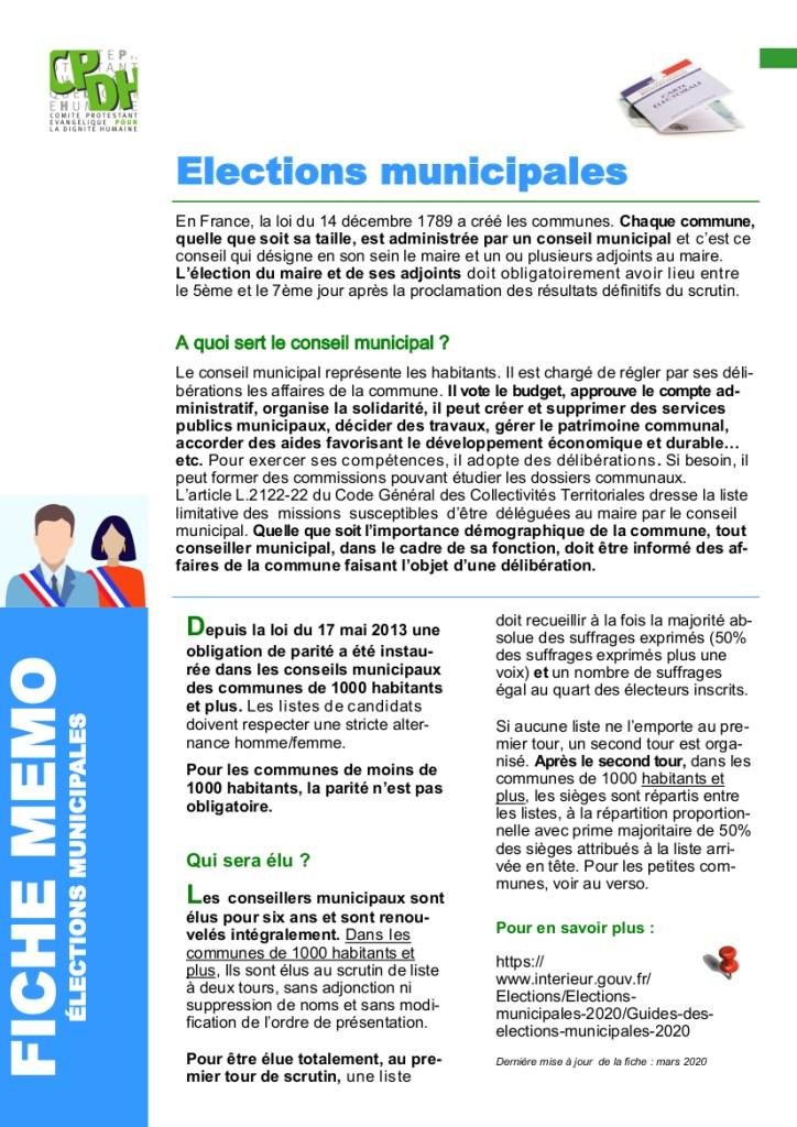 fiche mémo élections municipales