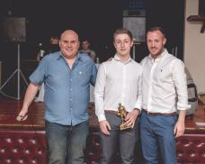 Jac Clements won the Manager's Player of the Year and received his trophy form Youth Team manager Ryan Betteney.