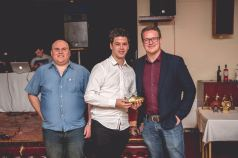 Leon Jacka receives his Top Goalscorer award from Rob Dowling.