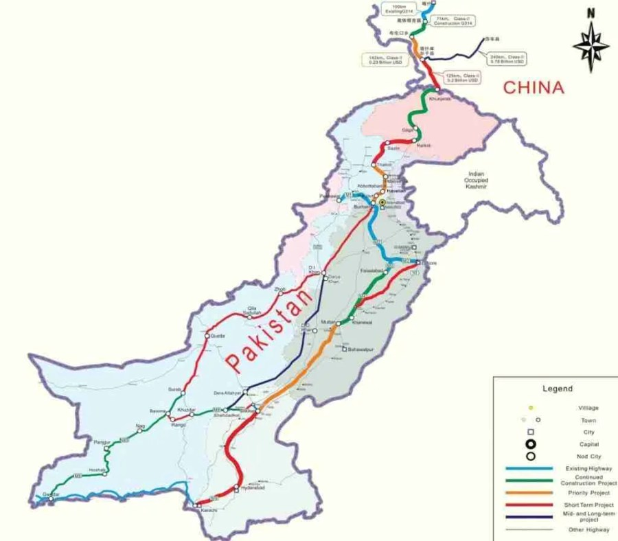 cpec map route highway roads