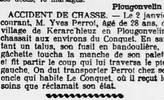 Ouest-Eclair_1909-01-06_PERROT_Yves_accident_chasse