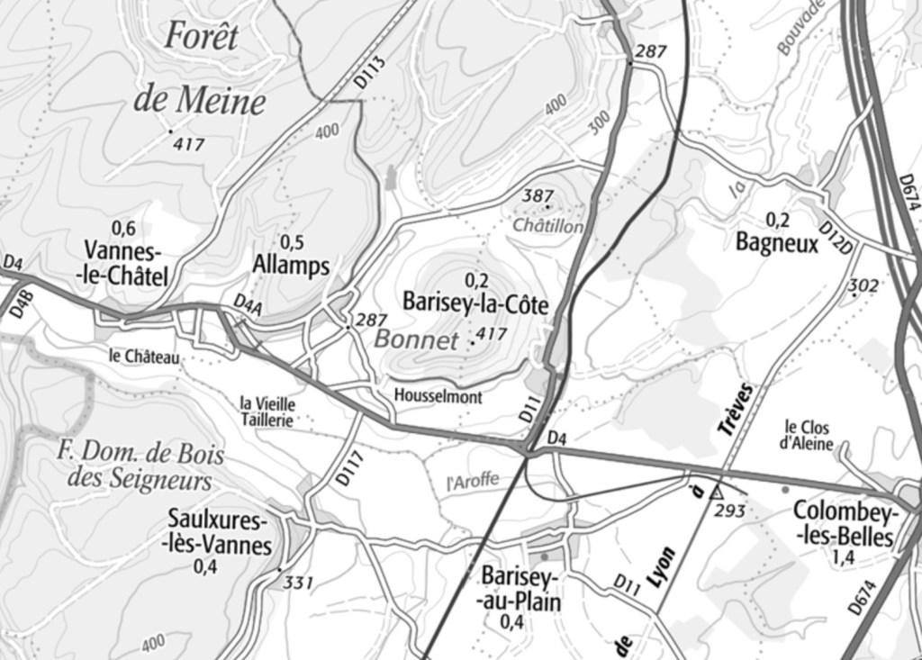 Carte Allamps - Barisey-la-Côte - Barisey-au-Plain