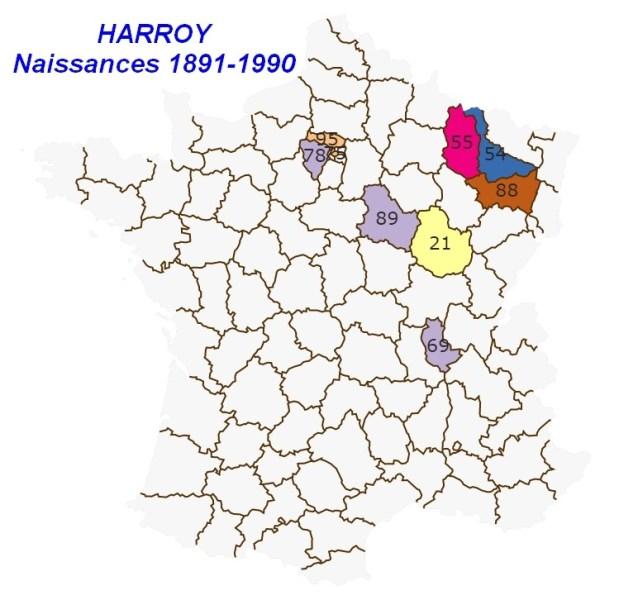 Carte des naissances HARROY de 1891 à 1990