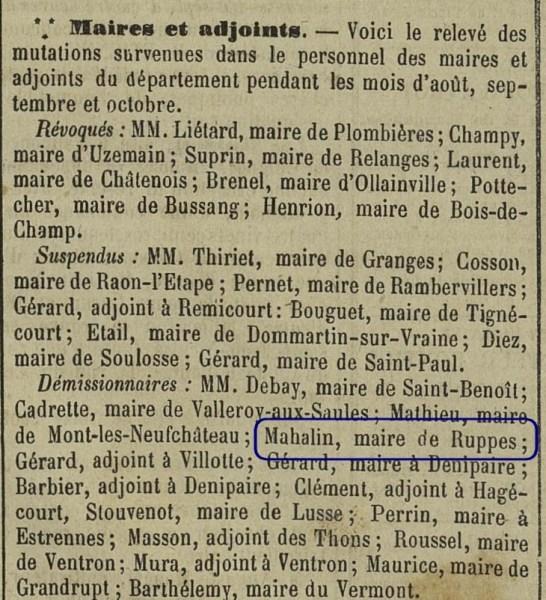 Démission Claude MAHALIN