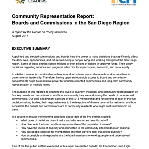 Community Representation Report: Boards and Commissions in the San Diego Region (2018)