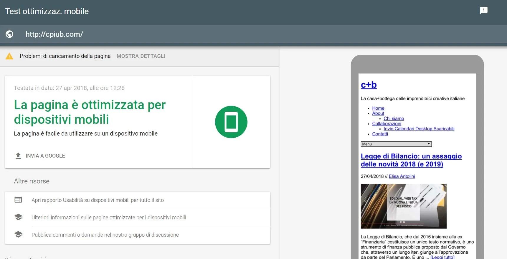 sito mobile friendly test