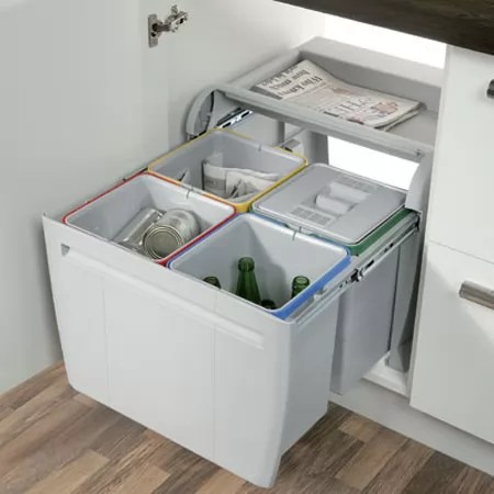 60cm city pull out waste bin 4x 12 litre
