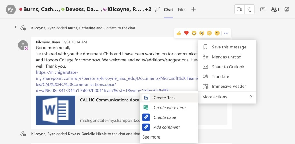 Conversation in the Teams application, with the Create Task option selected to demonstrate how easy it is to set up a To Do linked to a Teams chat.