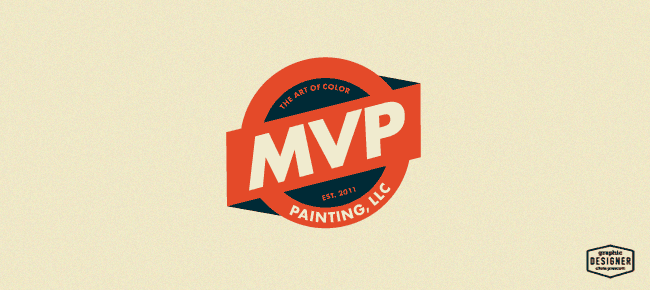 MVP Painting     Painting Business Logo Design     Graphic Designer     MVP Painting  LLC is a badge style  retro logo design for a painting  company