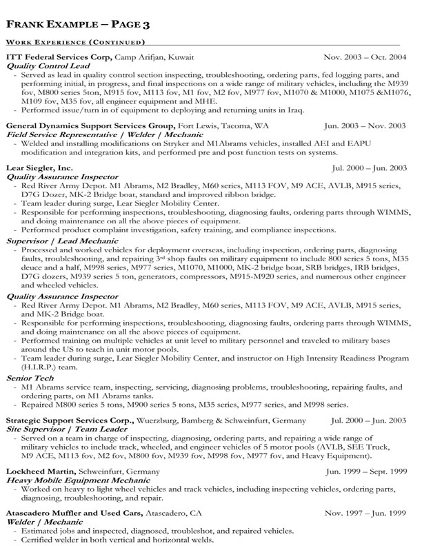 federal government resume sample