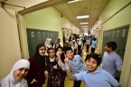 Elementary students showing off their school spirit, masha'Allah.