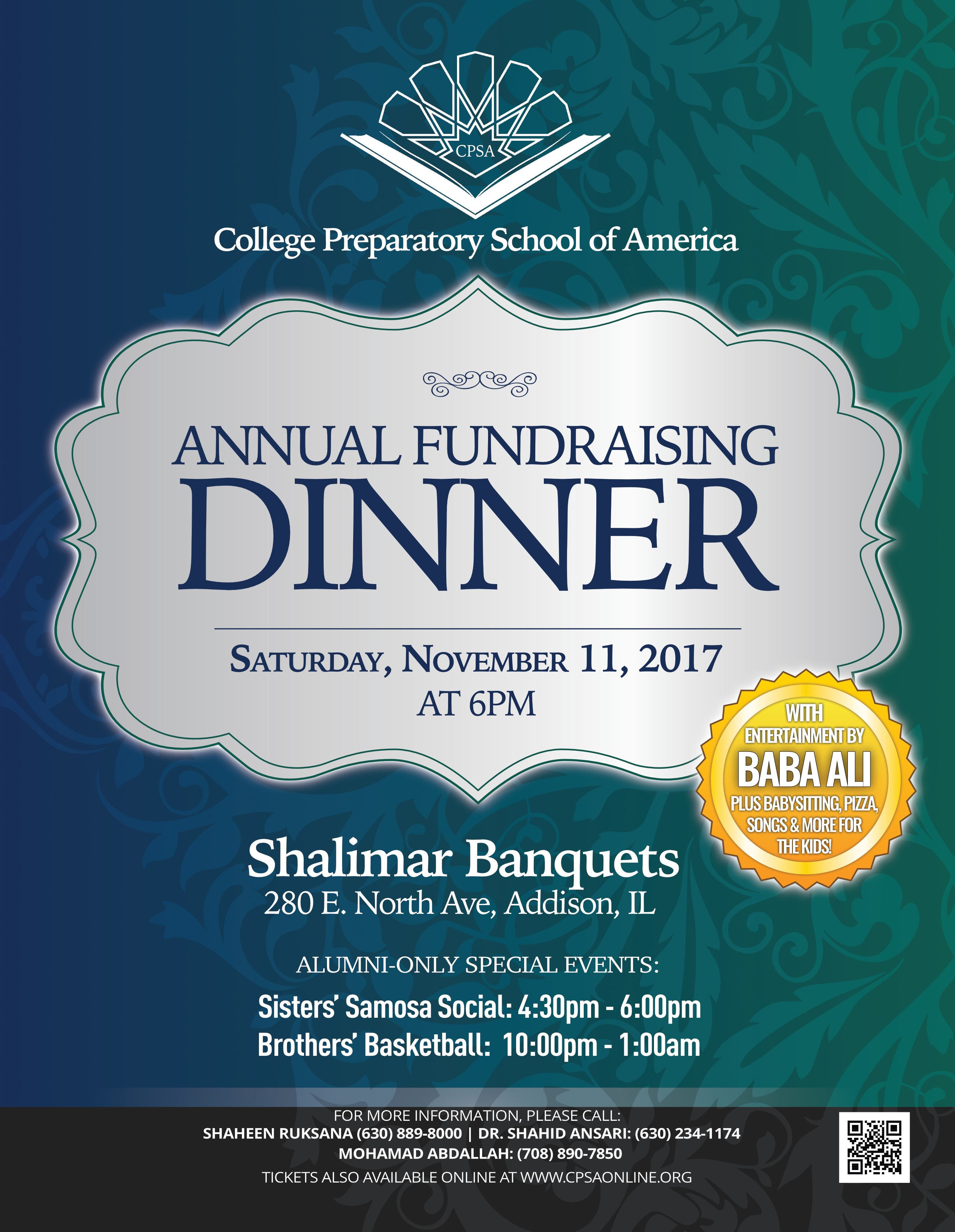 cpsas annual fundraising dinner will be held on saturday november 11th 2017 at shalimar banquets inshaallah tickets can be purchased securely online