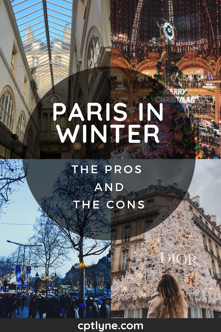 Planning to visit Paris in winter? Or not quite sure if a trip to Paris in the winter is something you'd enjoy, then let me help you with the pros and cons. It may be cold but the French capital is twinkling and sparkling with Christmas decorations and plenty of activity and things to do and enjoy without the crowd when you travel during the off peak season in France! #Paris #France #travel