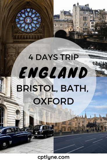 4 Days Trip in England. A short travel visiting Bristol, Bath and the quaint city of Oxford. Found out what to do in those city in a fun travel diary. #oxfrod #bath #bristol #travel #traveldiary