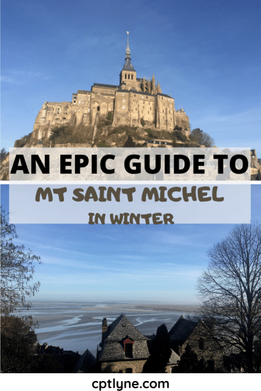 View of the Mt Saint Michel and over the bay in winter