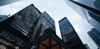 A image of high rise corporate business buildings