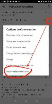 Imprimer la conversation voulue