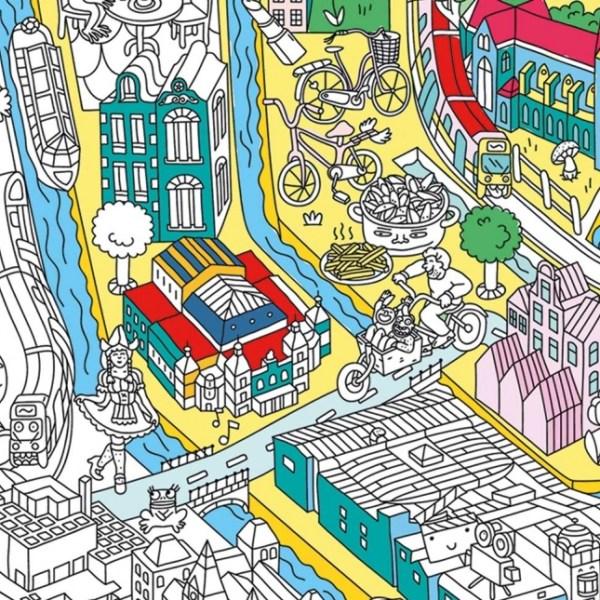 Poster géant à colorier Amsterdam