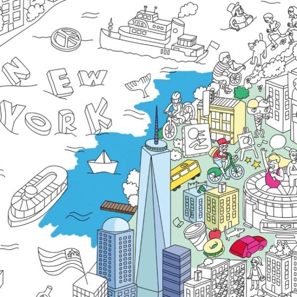 Poster géant à colorier New York