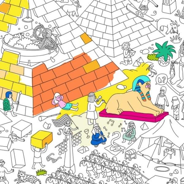 Poster géant à colorier Pyramides