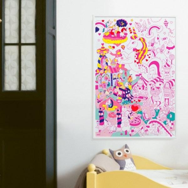 Poster géant à colorier Lily la licorne