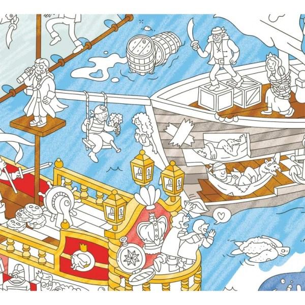 Poster géant à colorier Pirates