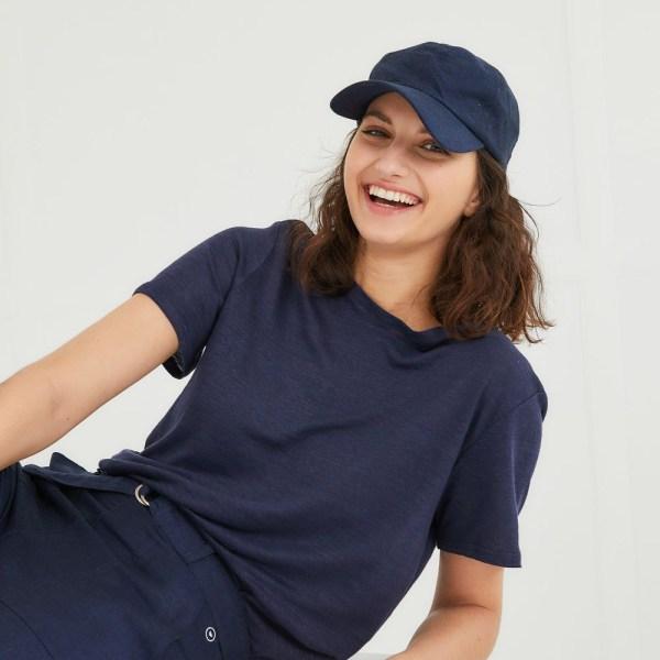 T-shirt mixte en lin marine Camille