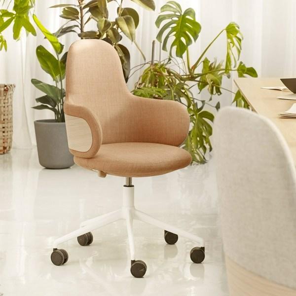 Chaise de bureau en tissu et bois