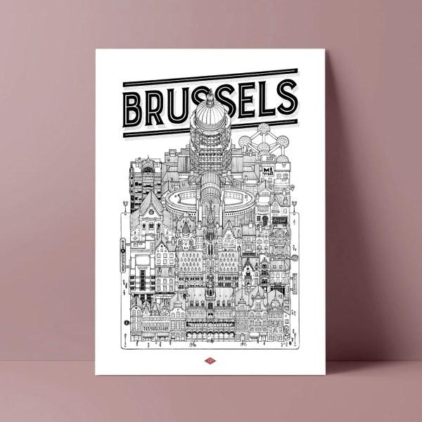 Affiche illustrée Brussels