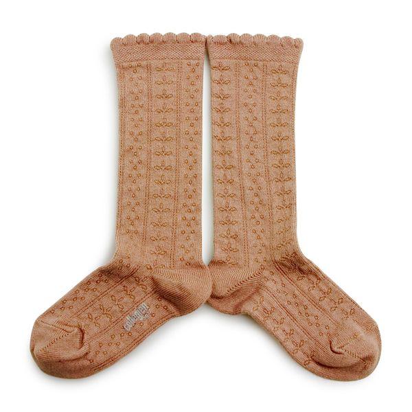 Chaussettes hautes en coton bio et maille ajourée – Caramel au Beurre Salé