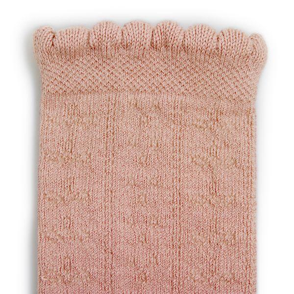Chaussettes hautes en coton bio et maille ajourée – Vieux Rose