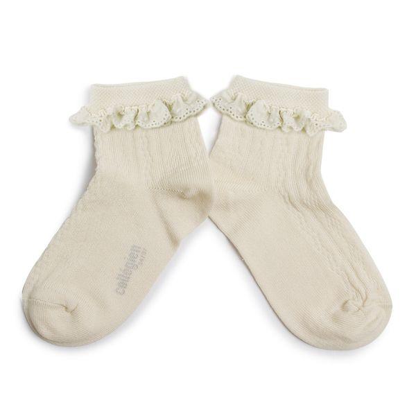 Chaussettes courtes en fil d'écosse avec broderie anglaise – Doux Agneaux