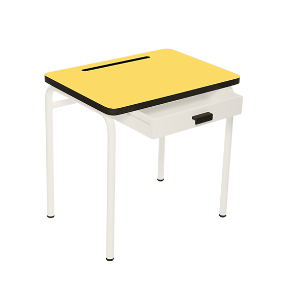 Bureau d'écolier en formica Régine – Jaune Citron