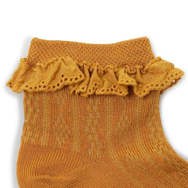 Chaussettes courtes en fil d'écosse avec broderie anglaise – Moutarde
