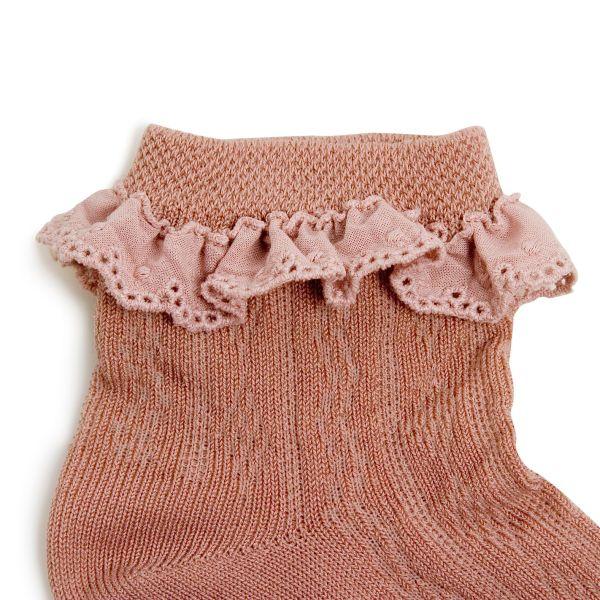 Chaussettes courtes en fil d'écosse avec broderie anglaise – Vieux Rose
