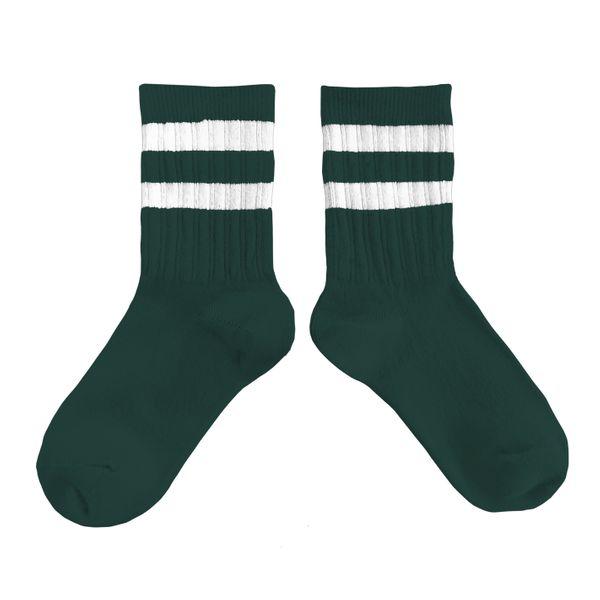 Chaussettes sport en coton à côtes à rayures – Vert Forêt