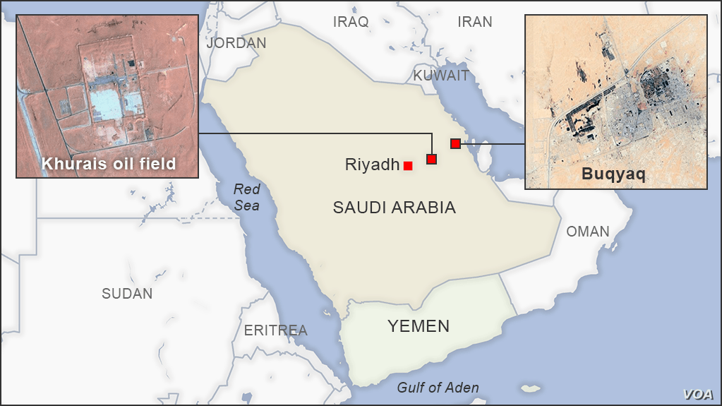 Map of Saudi Arabian oil fields.