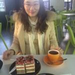 Image of Helena having afternoon tea