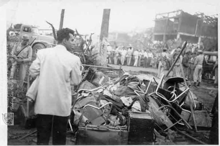 Explosión en Cali (Colombia), el 7 de agosto de 1956. Imagen: Archivo Biblioteca Departamental Jorge Garcés Borrero.