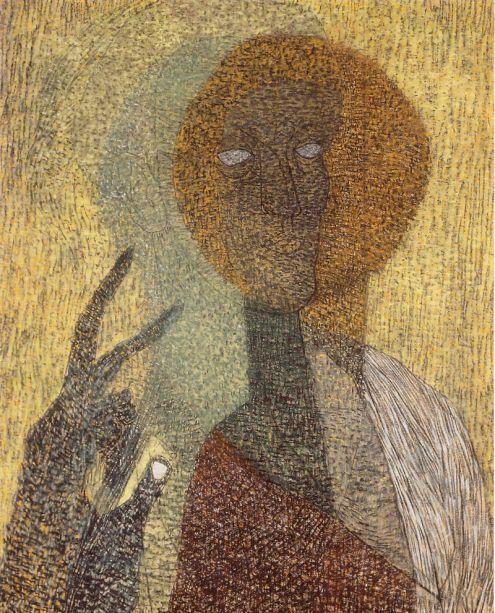 Lajos Vajda: Icon Self-Portrait Pointing Upwards, 1936