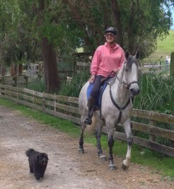 Naseebah (Seebie) and Chris King on their first ride at home.